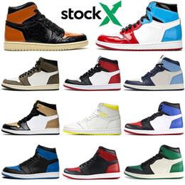 chaussures pour hommes nyc Promotion Nike air jordan retro 2019 1 1s UNC Chaussures de basketball hommes Satin Noir Toe Fearless NYC À PARIS TURBO GREEN SPIDERMAN baskets de designer pour hommes Sneakers Sports