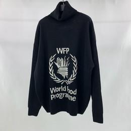 18FW Turtle Neck WFP Programma alimentare mondiale Maglioncino nero Foglia d'acero Uomo Donna Palm tree Moda maglieria Cardigan Long SLeeve HFTTMY020 da maglione foglia d'acero fornitori