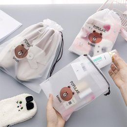 2020 bolsa de escurecimento Brown Bear Transparent Cosmetic Bag Travel Makeup Case Women Zipper Make Up Bath Organizer Storage Pouch Toiletry Wash Beaut Kit desconto bolsa de escurecimento