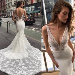 Profundo abierto v boda espalda vestido online-Sexy espalda abierta sirena vestidos de novia Profundo v cuello apliques barrer tren vestidos de novia formal de la novia