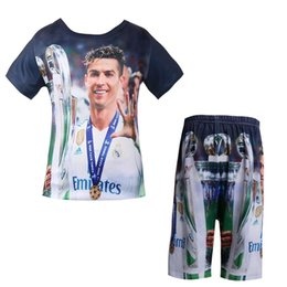 real madrid football team Promo Codes - Baby boys t shirt set Competition team uniform Real Football star t-shirt 3D Madrid C Ronaldo cartoon Kids short pant clothes