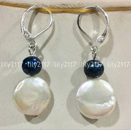 Pendientes colgantes de plata de 13-14 mm mar del sur blanco perla negro plateado desde fabricantes