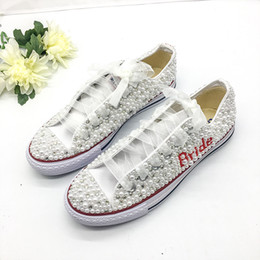 pattini bianchi del tallone di 3cm Sconti Downton cristalli fatti a mano perle perle scarpe da sposa sneakers scarpe basse da sposa tela scarpe da damigella d'onore scarpe da ginnastica taglia 34-44
