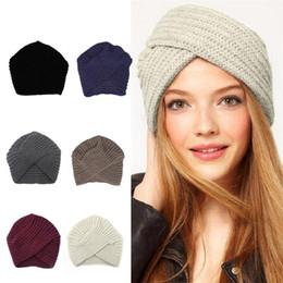 gorras de mujeres musulmanas Rebajas Mujeres estilo bohemio cálido invierno otoño gorro de punto moda Boho accesorios para el cabello suave turbante color sólido sombrero musulmán MMA2353-1