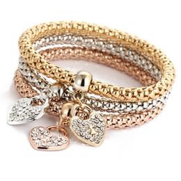 Canada Breloque Coeur Bracelets Bracelets Ensembles 3 PCS Or Rose En Argent Popcorn Chaîne Amour Coeur Strass Pendentifs Bracelets pour Femmes Bijoux Cadeaux supplier rhinestone jewelry set gold Offre