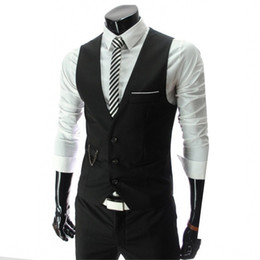 waistcoats v neck for suit Promo Codes - YZBZJC Arrival Dress Vests For Men Slim Fit Mens Suit Vest Male Waistcoat Gilet Homme Casual Sleeveless Formal Business Jacket