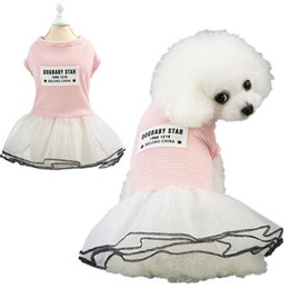 dogs tutu clothes Promo Codes - Stripe Tutu Dress Cute Pet Dog Dress Black Pink Dog Mini Dress Skirts Fashion Dog Clothes Drop Ship 360038