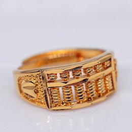 цвет заполнения бисер Скидка Wholesale Gold Filled Rings for Women  Vintage Wedding Jewelry Gifts Gold Color Abacus  Rings for Girls