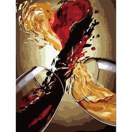 Pintura abstrata do vinho on-line-Pintura Por Números DIY Dropshipping 40x50 60x75 cm Abstrato delicioso vinho Still life Canvas Decoração Do Casamento Art imagem Presente