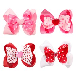 tiras de valentines Desconto 4 Inch infantil do amor do coração INS Valentine Headbands Sequins Headband bebê Red Headband Preemie bebê cabelo arcos Valentines Day Ribbon Headband