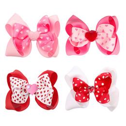 Tiras de valentines on-line-4 Inch infantil do amor do coração INS Valentine Headbands Sequins Headband bebê Red Headband Preemie bebê cabelo arcos Valentines Day Ribbon Headband