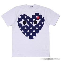 chemise homme noire à pois Promotion 2018 Meilleur Qualité Chaud VACANCES Coeur Emoji JOUER Japonais Noir À Pois Coeur Blanc Marine T Shirt Hommes Femmes