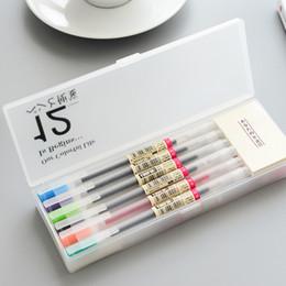 Färbung gel-stifte online-Muji Style Gel Pen 0.5mm Farbe Ink Pen Maker Pen Schule Bürobedarf 12 Farben