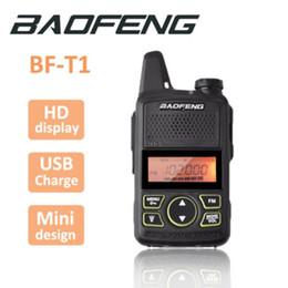100% Orijinal BAOFENG BF-T1 MINI Walkie Talkie UHF 400-470 MHz Taşınabilir T1 İki Yönlü Radyo Jambon Radyo Amador Mikro USB Alıcı-verici cheap mini walkie talkies nereden mini walkie konuşmaları tedarikçiler