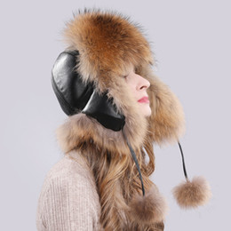real fox hats Promo Codes - 2019 Natural Real Fox Fur Bomber Hats Winter Warm Women Fluffy Fox Fur Earflap Caps Luxury Quality Lady Genuine Real Leather Hat