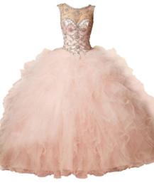 Coral Peach Sheer Crystal Beading Rhinestone con volantes Tul vestido de bola Dulce 16 vestidos Sin espalda Vestido de bola Vestidos de quinceañera desde fabricantes