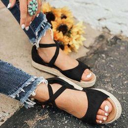 2019 flat peep toe sandals 2019 Mulheres Sandálias Gladiador Peep Toe Fivela Projeto sandálias romanas Mulheres Sapatos Baixos Sapatos de Praia Senhoras de Verão flat peep toe sandals barato