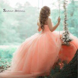 Saia laranja vestido on-line-2020 orange evening dress backless vestidos quinceanera festa vestido de baile elegante strapless saia de tule apliques frisada top