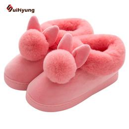 SuiHyung New Lovely Rabbit Ears Soft Peluche Home Shoes Cotton Warm Winter  Pantofole da donna Casual Pantofole da interno antiscivolo 55f1a7898fc