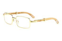 2019 óculos quadro de madeira para homens Marca de moda óculos de sol dos homens óculos de armação de madeira óculos de metal de prata de ouro óculos de semi-aro de bambu lunettes de soleil óculos quadro de madeira para homens barato