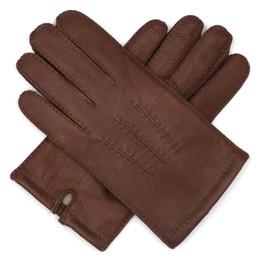forro de canada Rebajas Envío gratis Harssidanzar para hombre de gama alta Canadá guantes de cuero de piel de ciervo acabado cachemira forrada