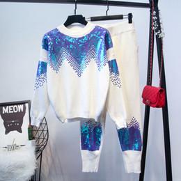 Pulôveres feitos à mão on-line-Amolapha Mulheres Handmade Sequines Pullovers De Malha + calças 2 Peças Conjuntos de Roupas de Inverno Tricô Treino Outfits