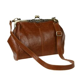 imitations handbags Coupons - Retro Vintage Kiss Lock Imitation Leather Shoulder Purse Handbag Totes Bag Satchel-Dark Brown