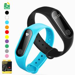 Bluetooth del cuore del pedometro online-M2 Smart Bracelet Smart watch Orologi Bluetooth Tracker fitness Pedometro Cinturino per cardiofrequenzimetro Monitor per la pressione sanguigna Polsino intelligente