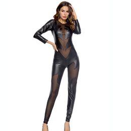 Черный комбинезон из латекса онлайн-Black PU Leather Jumpsuit Women Skinny Lace Mesh Patchwork Bodysuit Latex Catsuit Fetish Wear Sexy Pole Dance Clothing Bodysuit