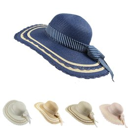 Соломенные луки онлайн-Spring And Summer Women Sunshade Lace Bow Wide Brim Big Straw Hat Womens Beach Casual Sun Daxie Straw Hat H14