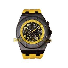 желтый водонепроницаемый чехол Скидка 45мм Мужские часы Sport Luxury Человек Водонепроницаемый Механические автоматические движения Часы Матовый Дело желтый резиновый ремешок Нет Хронограф