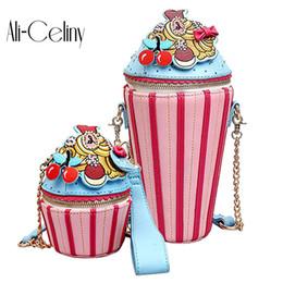 Bolsas de crema online-2019 de Dibujos Animados Lindos Mujeres Helado Cupcake Mini Pu Bolsas de Cuero Pequeña Cadena Embrague Crossbody Chica Hombro Messenger Bag Y19061301