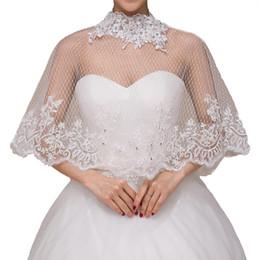 Rhinestone encolhem os ombros on-line-Bordado Lace Xaile com prata do casamento Rhinestone Tulle Lace Shrug Enrole para Noivas Bridesmaids Lace roubou
