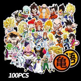 100 unids / set Nuevo Dragon Ball Z Graffiti Etiqueta Personalidad Equipaje DIY pegatinas de dibujos animados PVC pegatinas de pared bolsa de accesorios para niños regalo juguetes B desde fabricantes