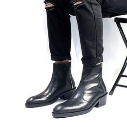 Stivali da cowboy invernali autunnali Stivali con cerniera Scarpe con tacchi alti fatti a mano Spedizione gratuita Scarpe da uomo Martin da