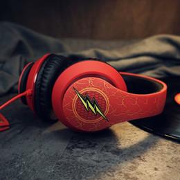 Nuevo DC Justice League The Flash Auriculares para juegos con cable rojos HIFI sobre oreja juego para auriculares con micrófono para PC desde fabricantes