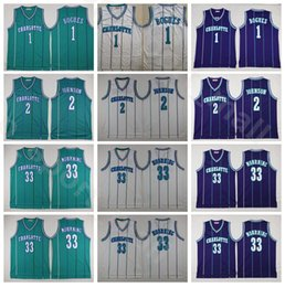 Trikot uniform basketball online-Männer Basketball Alonzo Trauer Jersey Tyrone Muggsy Bogues Larry Johnson Vintage Allgenähte Lila Grün Weißes Zuhause Uniform Hohe Qualität
