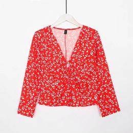 Fiori rossi coreani online-Camicette di chiffon Camicie a maniche lunghe a maniche lunghe da donna Camicie a maniche lunghe Kimono stampa floreale a maniche lunghe