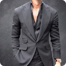 Manteau gris pantalon images en Ligne-Large Peak Gris Hommes Costumes pour Costumes De Mariage Homme Blazers Custom Made Gux Smokings 2 Pièces Manteau Pantalon Slim Fit Costume Homme Terno Masculino