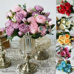 2019 piante artificiali cinesi 1 Bouquet Artificiale Falso Fiore di Seta Rosa Nuziale Ortensia Wedding Party Decor