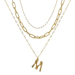 Collier initial de perles en Ligne-Minuscule Real Pearl A-Z Mode Personnalisé Lettre Alphabet Pendentif Collier Or Couleur Chaîne Initial Bib Charms Pour Femmes Bijoux