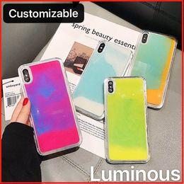 telefone celular moonor moon Desconto Customiable qualidade luminosa de néon líquido Glitter Quicksands Telefone caso capa para o iPhone 6 7 8 XS MAX Xr 11 Pro Samsung S8 S9 S10 Nota 10 9 8