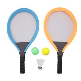 raquetes de badminton de bola Desconto 2 Em 1 Badminton Raquetes De Tênis De Praia Esporte Brinquedo Conjunto com Bola Setas Raquetes De Brinquedo para Crianças