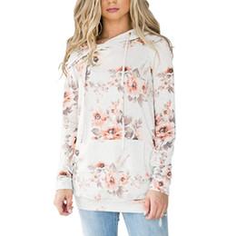 modelos de blusas de pescoço Desconto Modelos de Explosão das Mulheres Bolsos Com Estampado Com Decote Em V Casual Hoodie Roupas Blusa Com Impressão de Roupas Femininas 2019 Topo