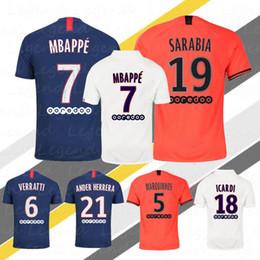 mejor futbol tailandes Rebajas Kylian Mbappe Jersey 2020 Mejor calidad Thai Home Icardi Cavani Sarabia Di Maria camisas Fútbol Ropa de Fútbol Jerseys Maillot de foot