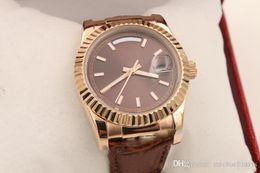 Gürtel mechanische uhr online-ew High Quality Siver Luxus hohe Qualität Rose Gold Unisex neue Arrivel automatische mechanische Armbanduhr Ledergürtel 36mm Geschenk Daydate