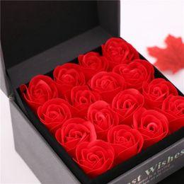 lembrança rosa para casamento Desconto Moda 16 pcs Simulação Rose Soap Flor Com Caixa de Lembrança de Casamento Dia Dos Namorados Presente de Aniversário Presente Bonito Para A Mãe