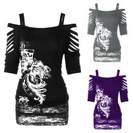 vêtements gothiques Promotion Gothique Off-épaule Imprimé T-shirt Femmes Bretelles Hauts Lady Fashion Party Calander Chris Jawbreaker Vêtements 3 couleurs LLA354