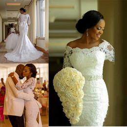 vestidos de novia codo mangas Rebajas Últimos 3/4 manga de encaje sirena vestidos de novia apliques vestidos de novia con cuentas cremallera volver vestidos de boda