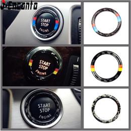 vw handle Desconto Para ignição do motor do carro de fibra de carbono BMW E90 E92 E93 Start Stop Anel guarnição M Sport Car Key Ring 3 Series Acessórios Car